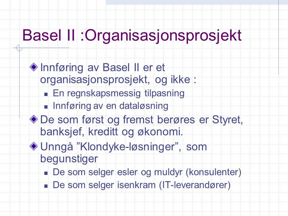 Basel II :Organisasjonsprosjekt