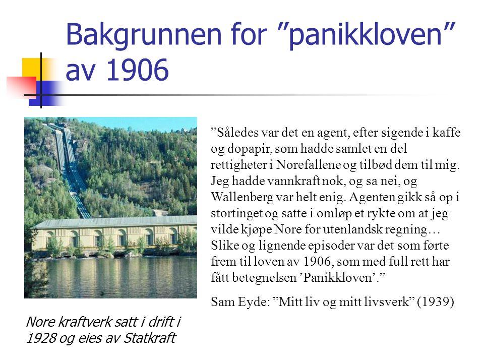 Bakgrunnen for panikkloven av 1906