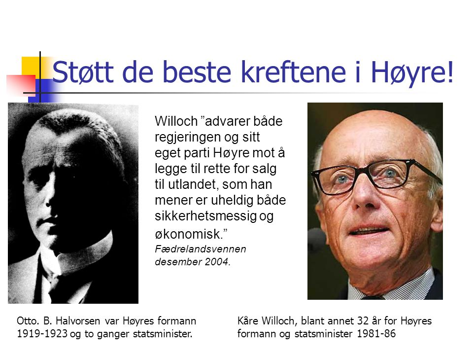 Støtt de beste kreftene i Høyre!