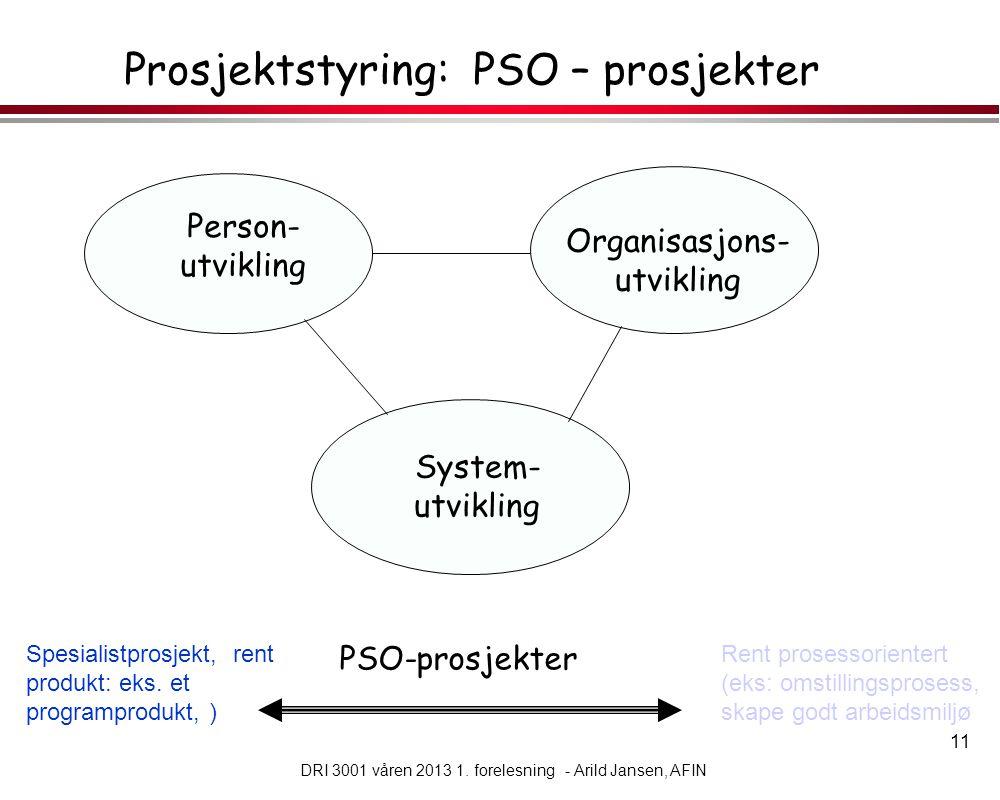 Prosjektstyring: PSO – prosjekter