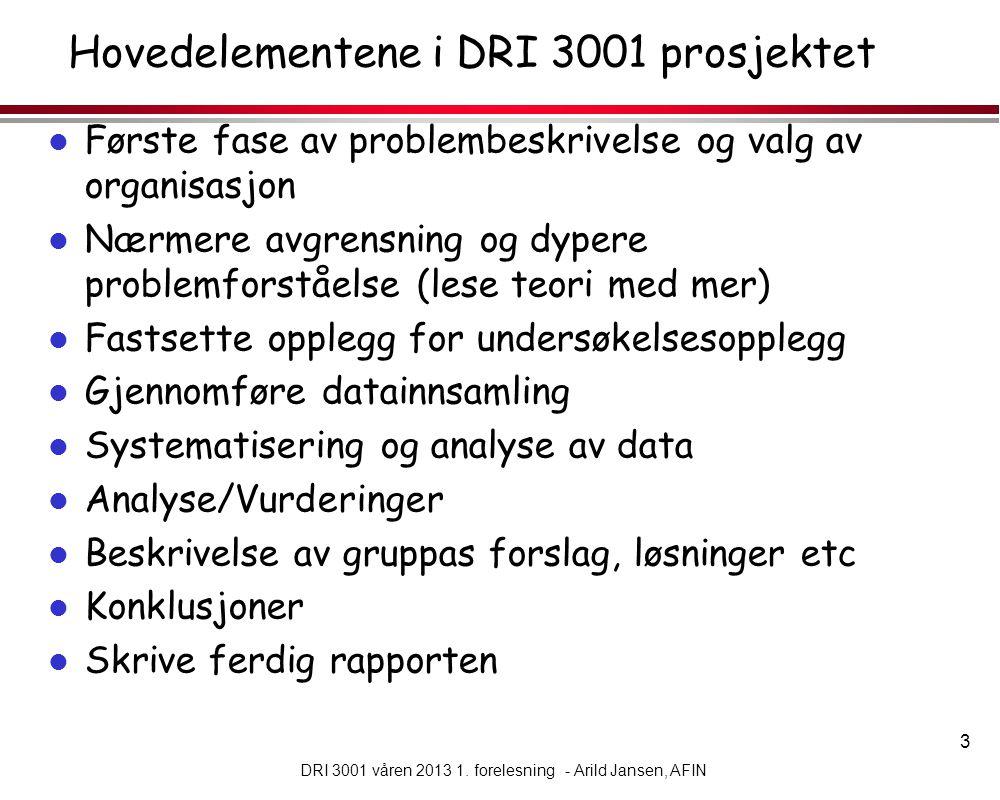 Hovedelementene i DRI 3001 prosjektet