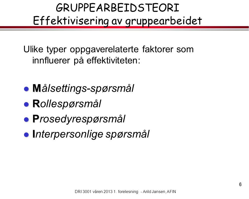 GRUPPEARBEIDSTEORI Effektivisering av gruppearbeidet