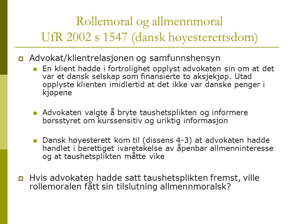 Rollemoral og allmennmoral UfR 2002 s 1547 (dansk høyesterettsdom)
