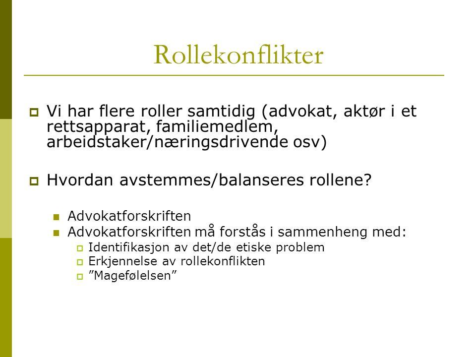 Rollekonflikter Vi har flere roller samtidig (advokat, aktør i et rettsapparat, familiemedlem, arbeidstaker/næringsdrivende osv)