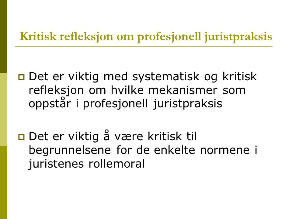 Kritisk refleksjon om profesjonell juristpraksis