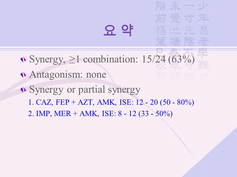 요 약 Synergy, ≥1 combination: 15/24 (63%) Antagonism: none