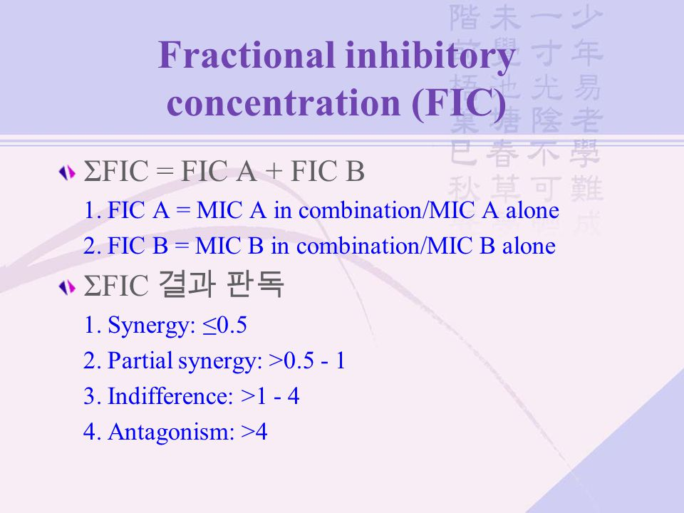 Fractional inhibitory concentration (FIC)