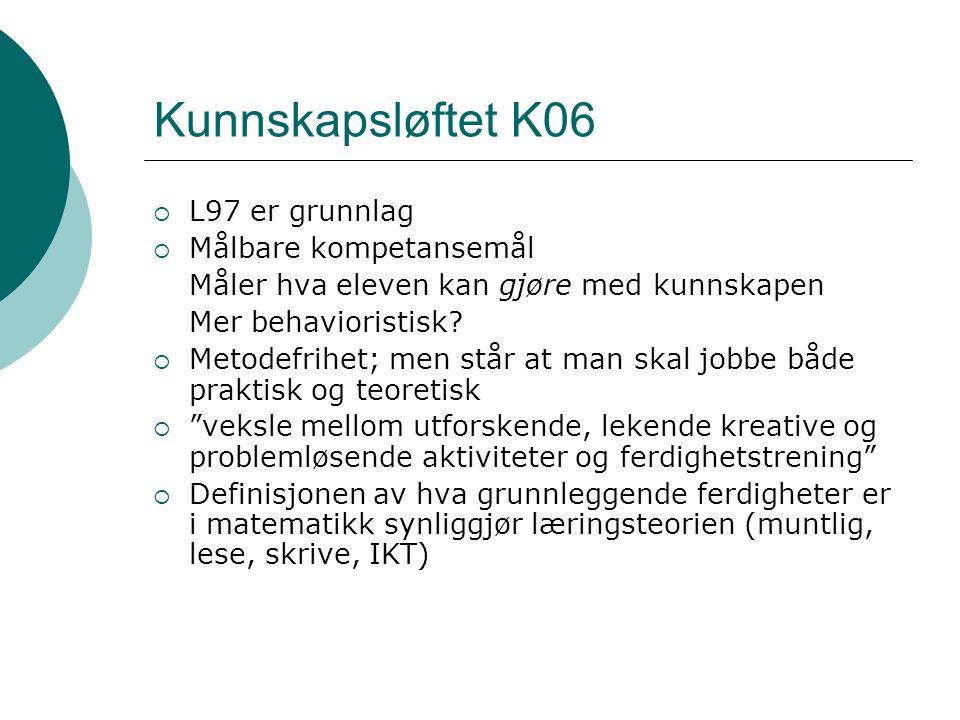 Kunnskapsløftet K06 L97 er grunnlag Målbare kompetansemål