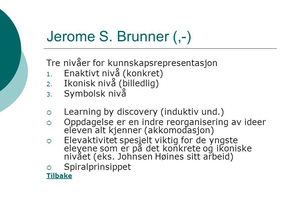 Jerome S. Brunner (,-) Tre nivåer for kunnskapsrepresentasjon
