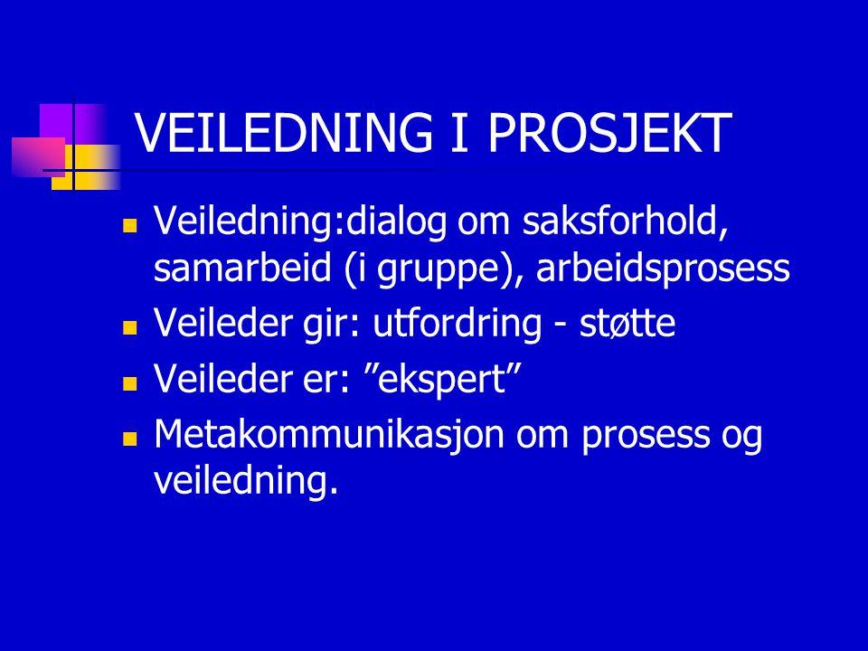 VEILEDNING I PROSJEKT Veiledning:dialog om saksforhold, samarbeid (i gruppe), arbeidsprosess. Veileder gir: utfordring - støtte.