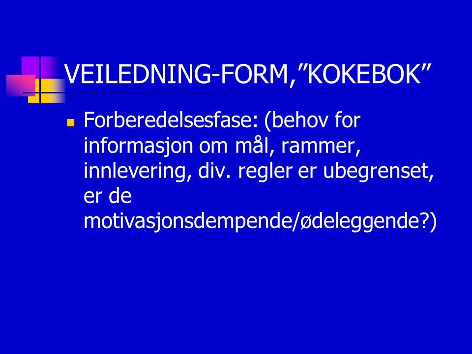 VEILEDNING-FORM, KOKEBOK