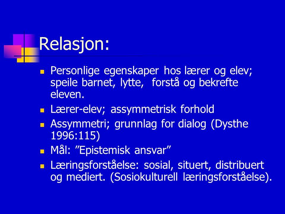 Relasjon: Personlige egenskaper hos lærer og elev; speile barnet, lytte, forstå og bekrefte eleven.