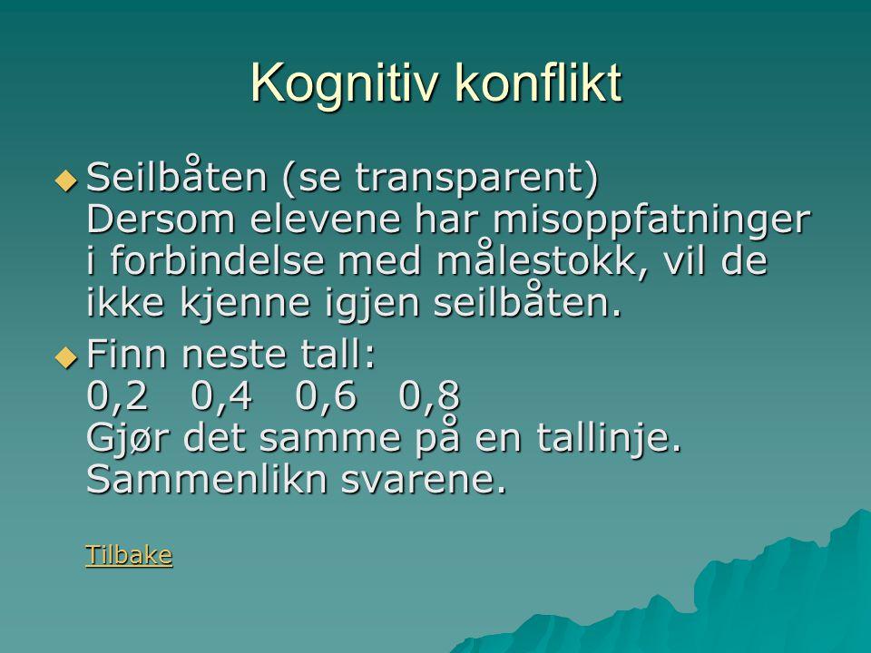 Kognitiv konflikt Seilbåten (se transparent) Dersom elevene har misoppfatninger i forbindelse med målestokk, vil de ikke kjenne igjen seilbåten.