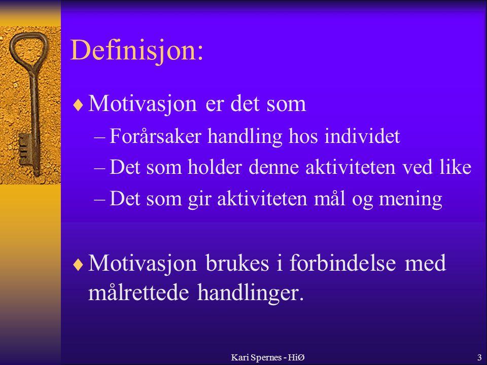 Definisjon: Motivasjon er det som