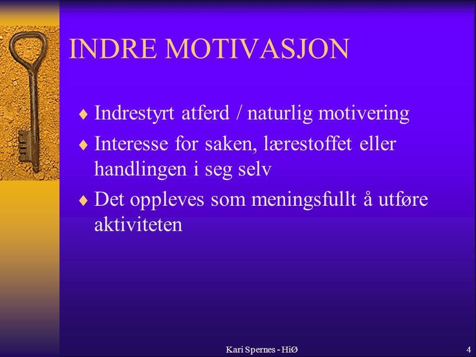 INDRE MOTIVASJON Indrestyrt atferd / naturlig motivering