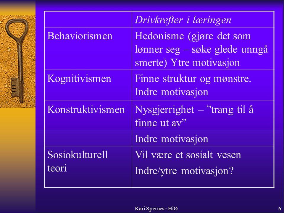 Drivkrefter i læringen Behaviorismen