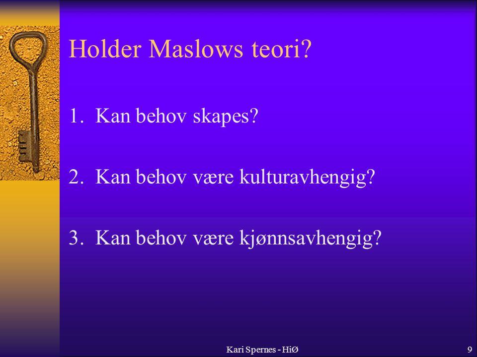 Holder Maslows teori 1. Kan behov skapes