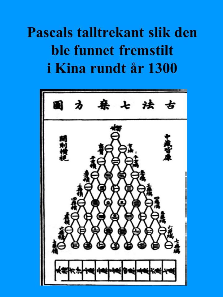 Pascals talltrekant slik den ble funnet fremstilt i Kina rundt år 1300