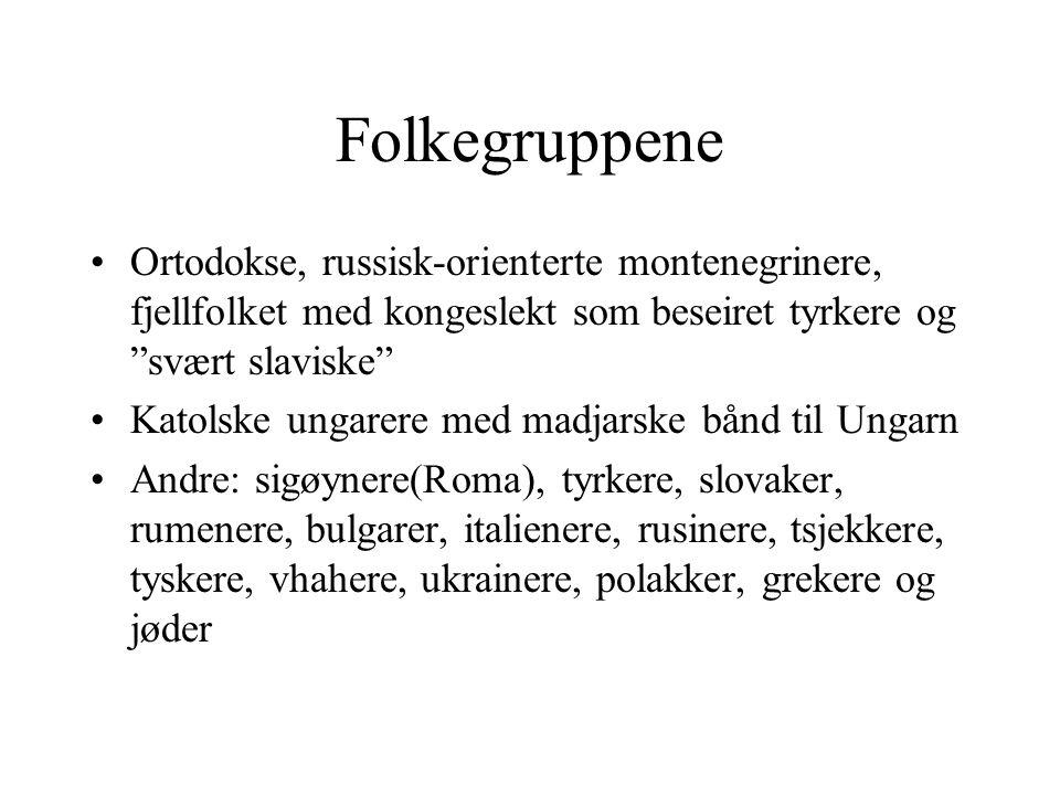 Folkegruppene Ortodokse, russisk-orienterte montenegrinere, fjellfolket med kongeslekt som beseiret tyrkere og svært slaviske
