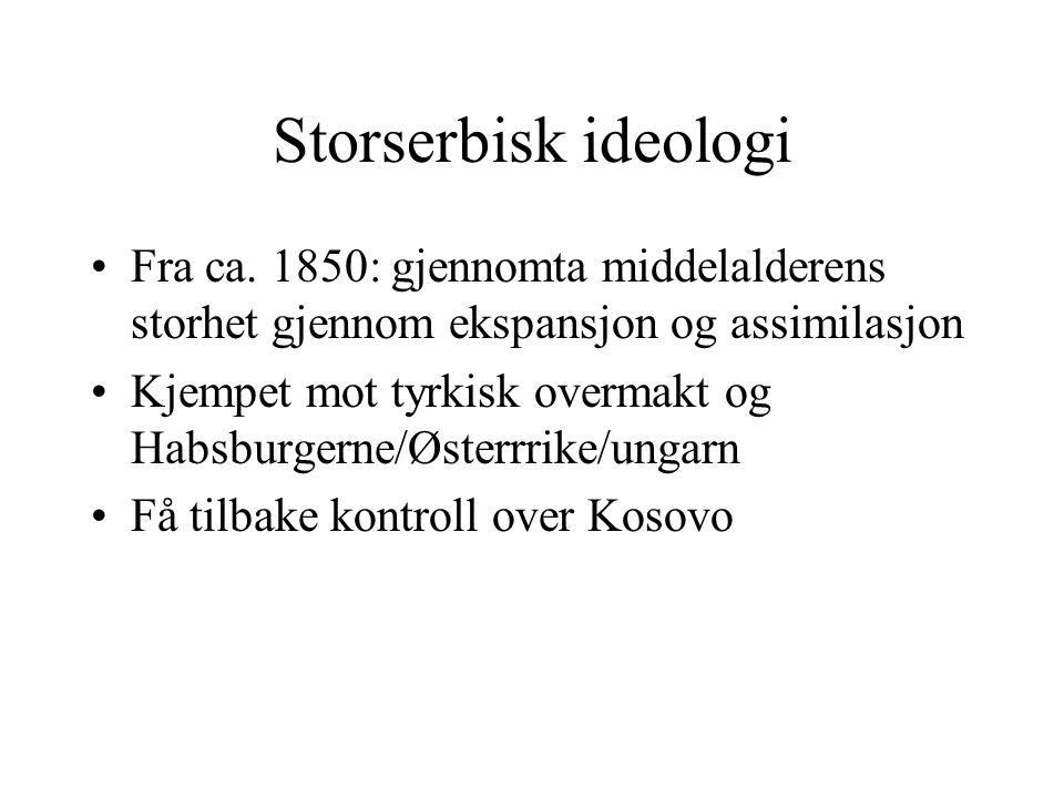 Storserbisk ideologi Fra ca. 1850: gjennomta middelalderens storhet gjennom ekspansjon og assimilasjon.