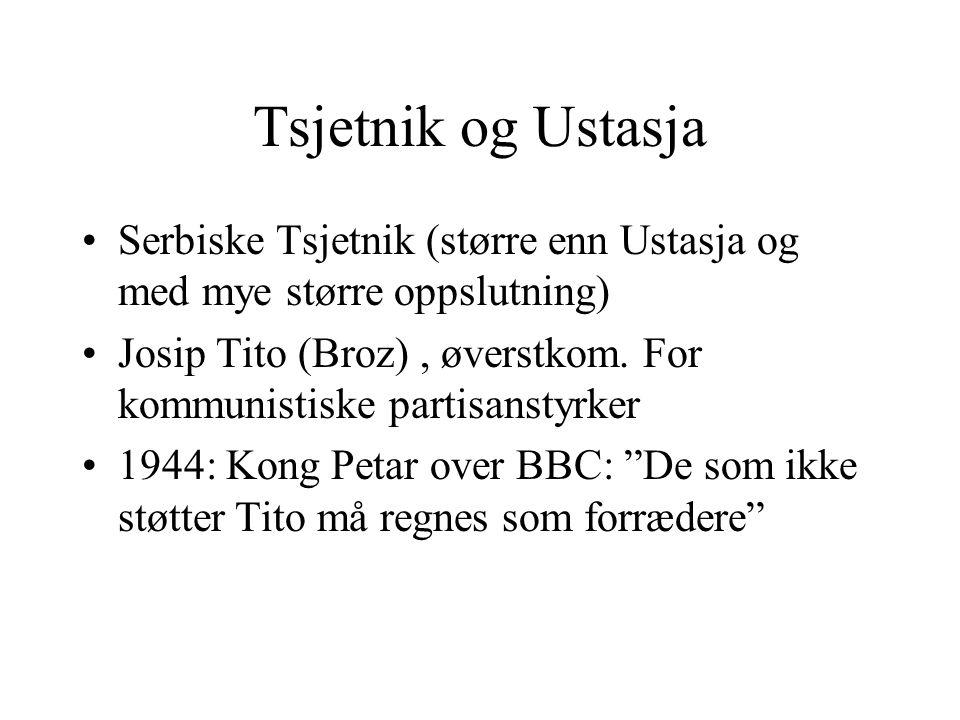 Tsjetnik og Ustasja Serbiske Tsjetnik (større enn Ustasja og med mye større oppslutning)