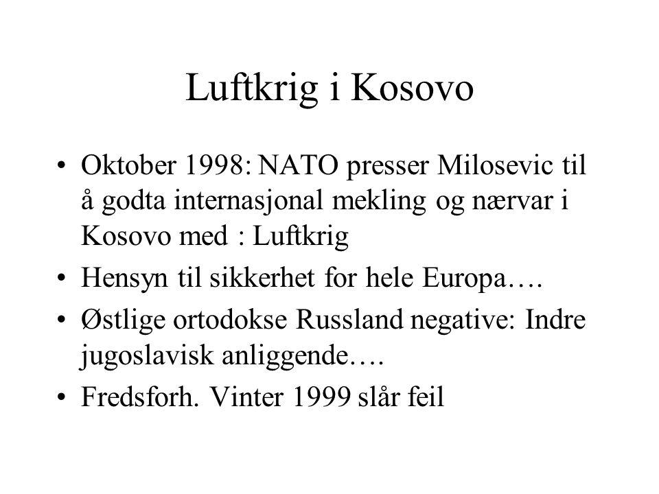 Luftkrig i Kosovo Oktober 1998: NATO presser Milosevic til å godta internasjonal mekling og nærvar i Kosovo med : Luftkrig.