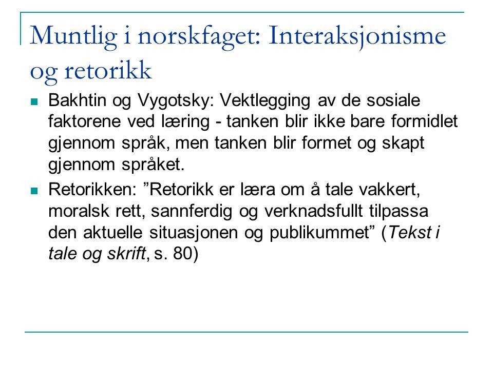 Muntlig i norskfaget: Interaksjonisme og retorikk