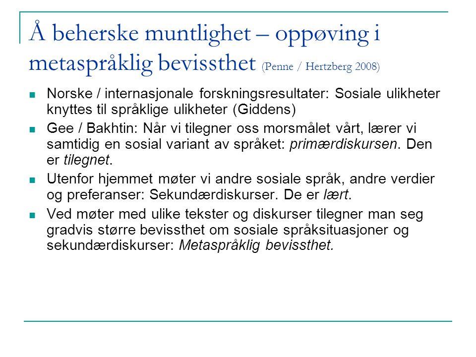 Å beherske muntlighet – oppøving i metaspråklig bevissthet (Penne / Hertzberg 2008)