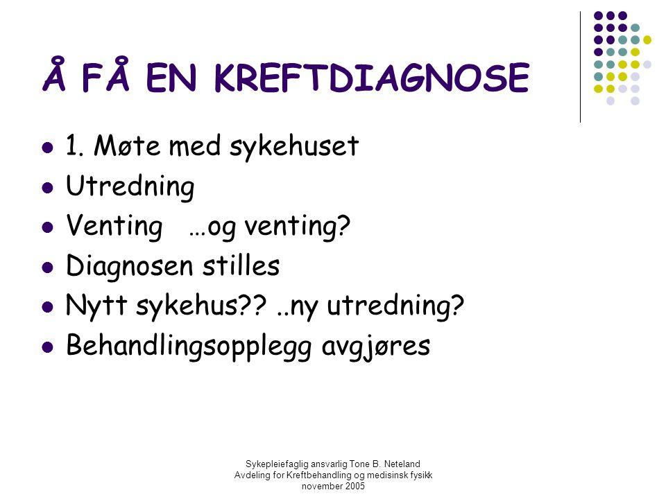 Å FÅ EN KREFTDIAGNOSE 1. Møte med sykehuset Utredning