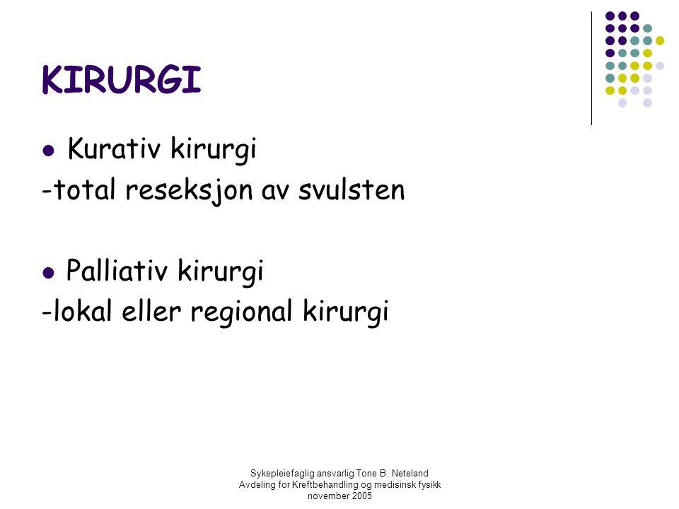 KIRURGI Kurativ kirurgi -total reseksjon av svulsten Palliativ kirurgi
