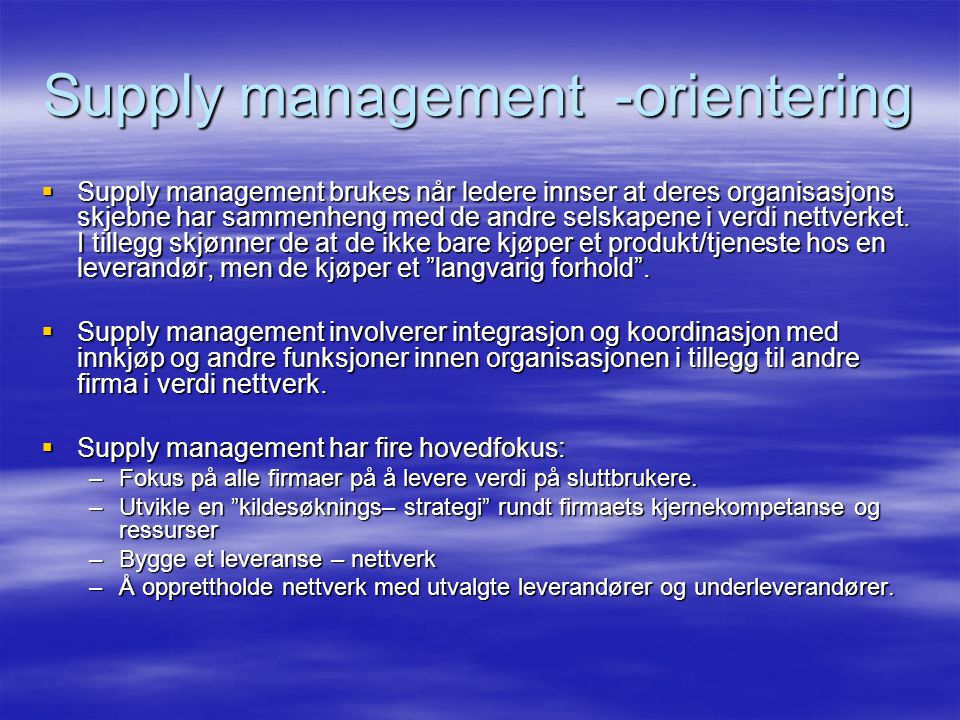 Supply management -orientering