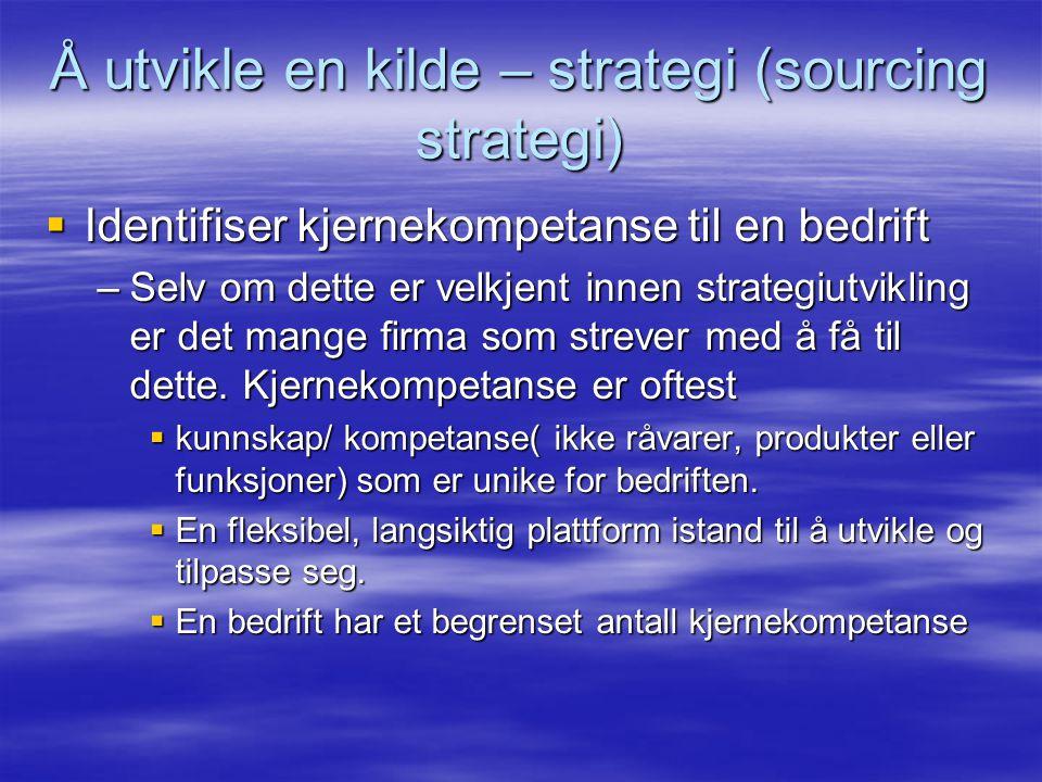 Å utvikle en kilde – strategi (sourcing strategi)