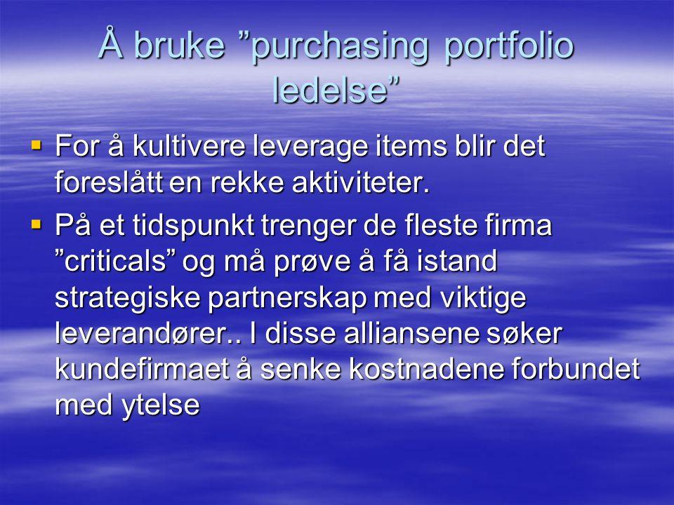 Å bruke purchasing portfolio ledelse