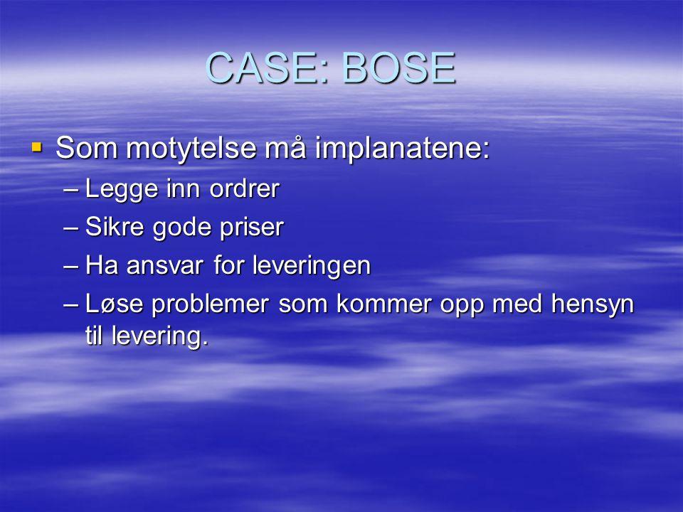 CASE: BOSE Som motytelse må implanatene: Legge inn ordrer