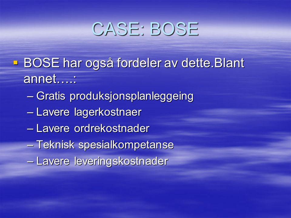 CASE: BOSE BOSE har også fordeler av dette.Blant annet….:
