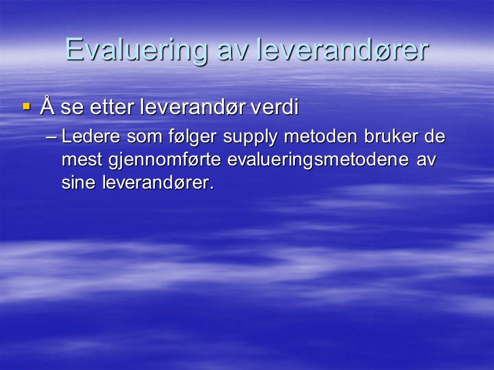 Evaluering av leverandører