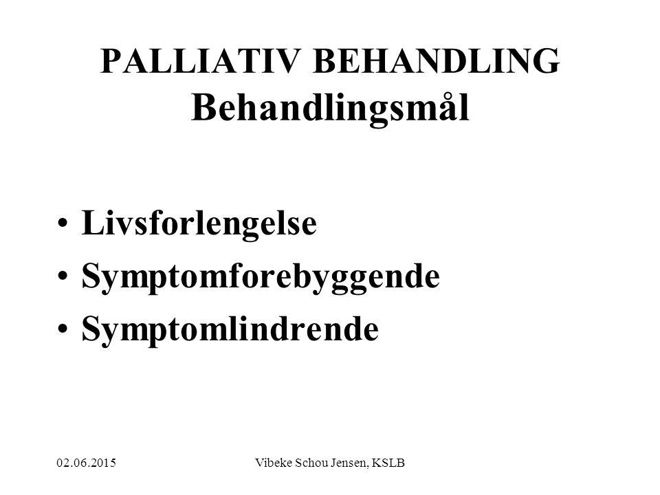 PALLIATIV BEHANDLING Behandlingsmål