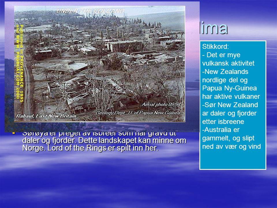 Landskap, vær og klima På kysten ved Stillehavet er det mye vulkansk
