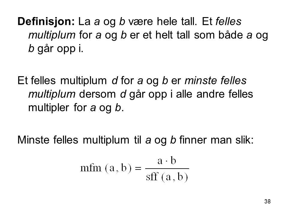 Definisjon: La a og b være hele tall