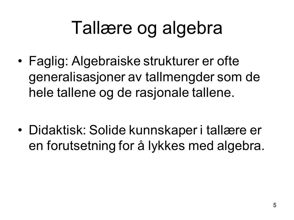 Tallære og algebra Faglig: Algebraiske strukturer er ofte generalisasjoner av tallmengder som de hele tallene og de rasjonale tallene.