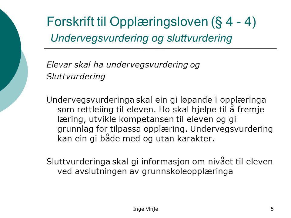 Forskrift til Opplæringsloven (§ 4 - 4) Undervegsvurdering og sluttvurdering