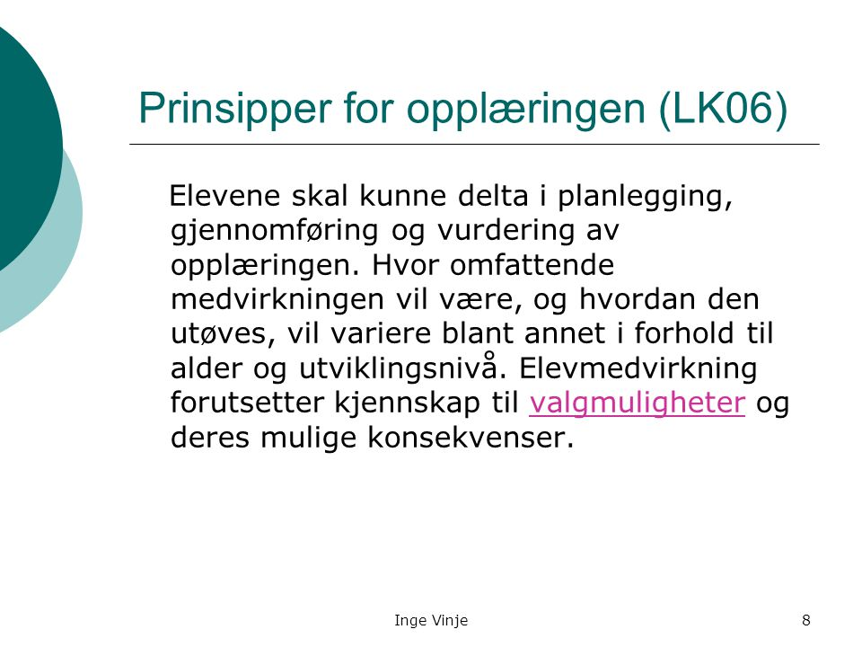Prinsipper for opplæringen (LK06)