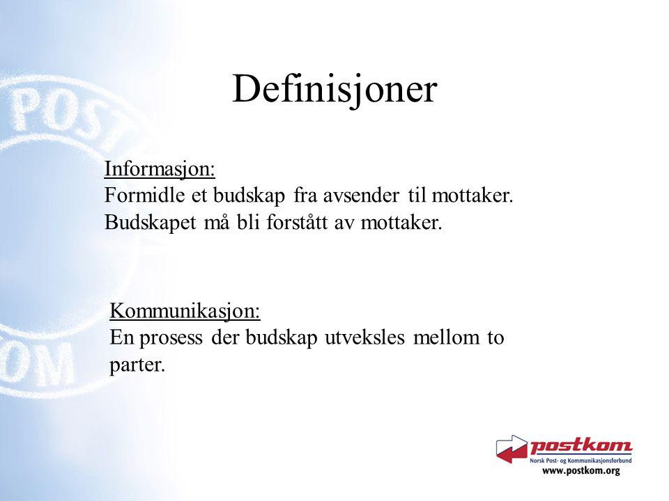 Definisjoner Informasjon: Formidle et budskap fra avsender til mottaker. Budskapet må bli forstått av mottaker.