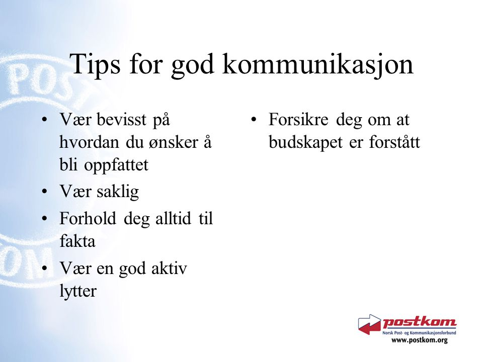 Tips for god kommunikasjon