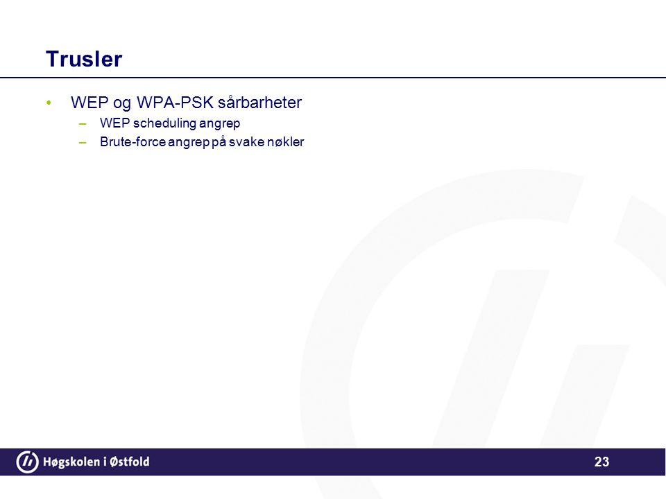 Trusler WEP og WPA-PSK sårbarheter WEP scheduling angrep