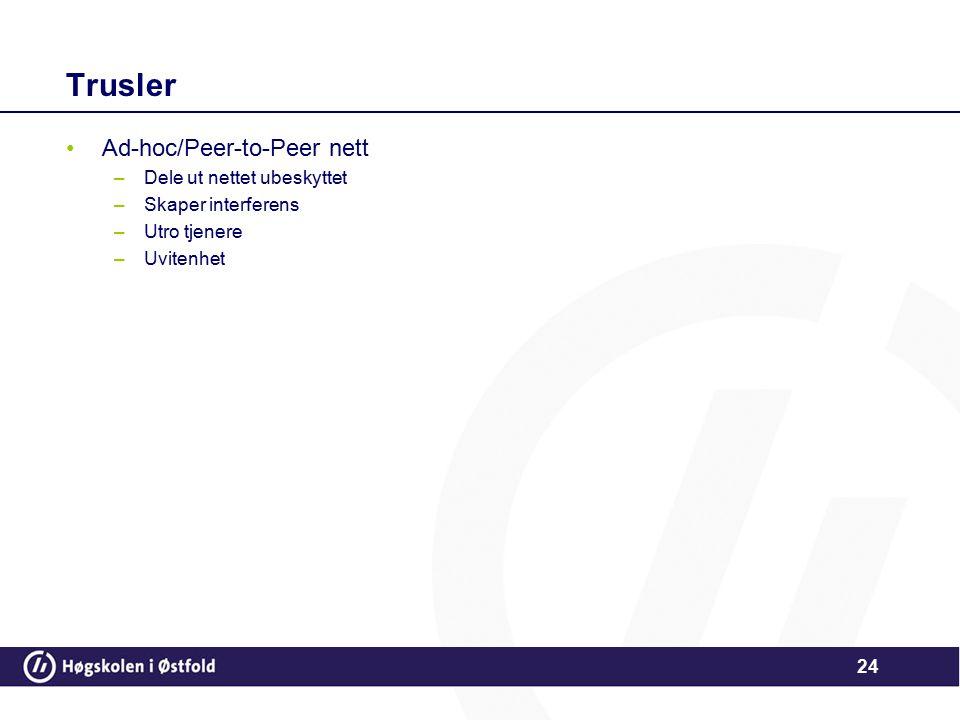 Trusler Ad-hoc/Peer-to-Peer nett Dele ut nettet ubeskyttet