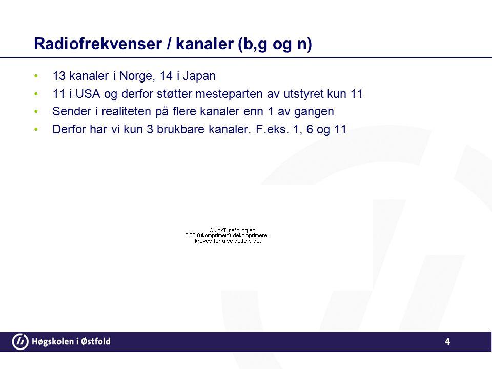 Radiofrekvenser / kanaler (b,g og n)