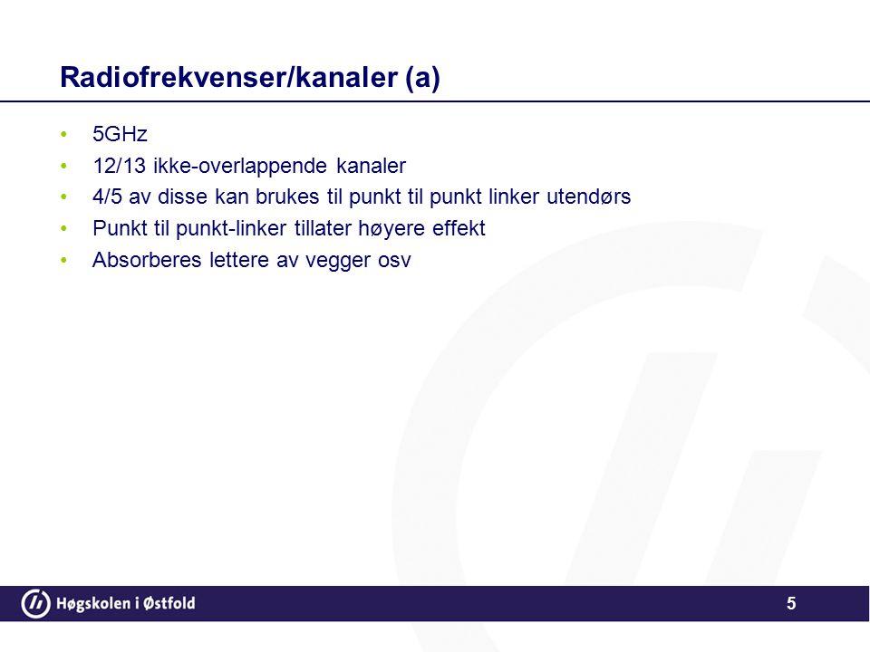Radiofrekvenser/kanaler (a)