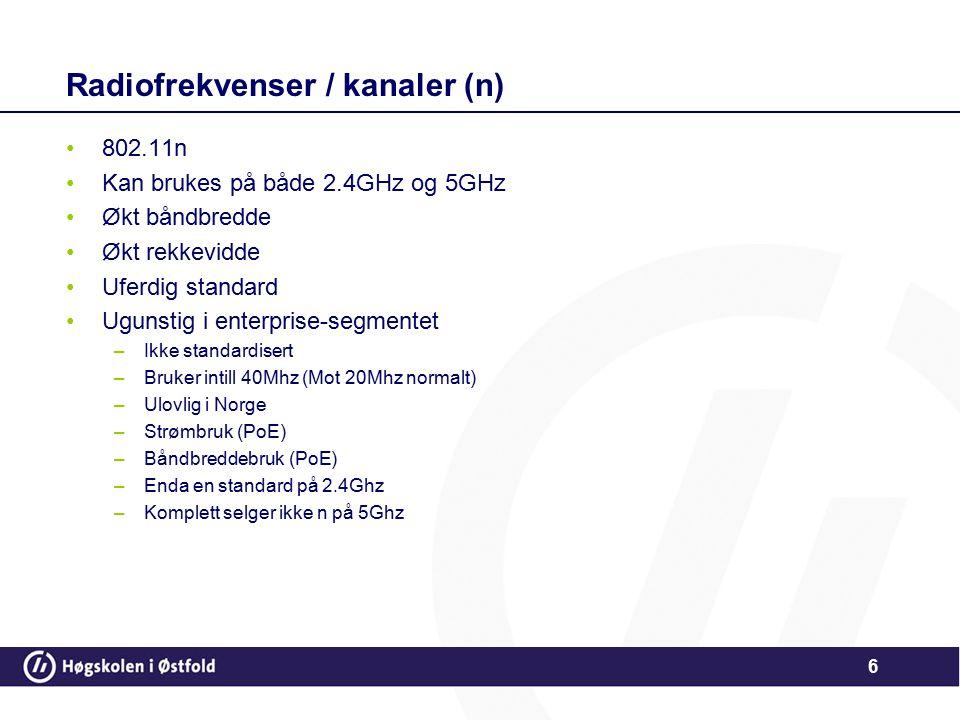 Radiofrekvenser / kanaler (n)