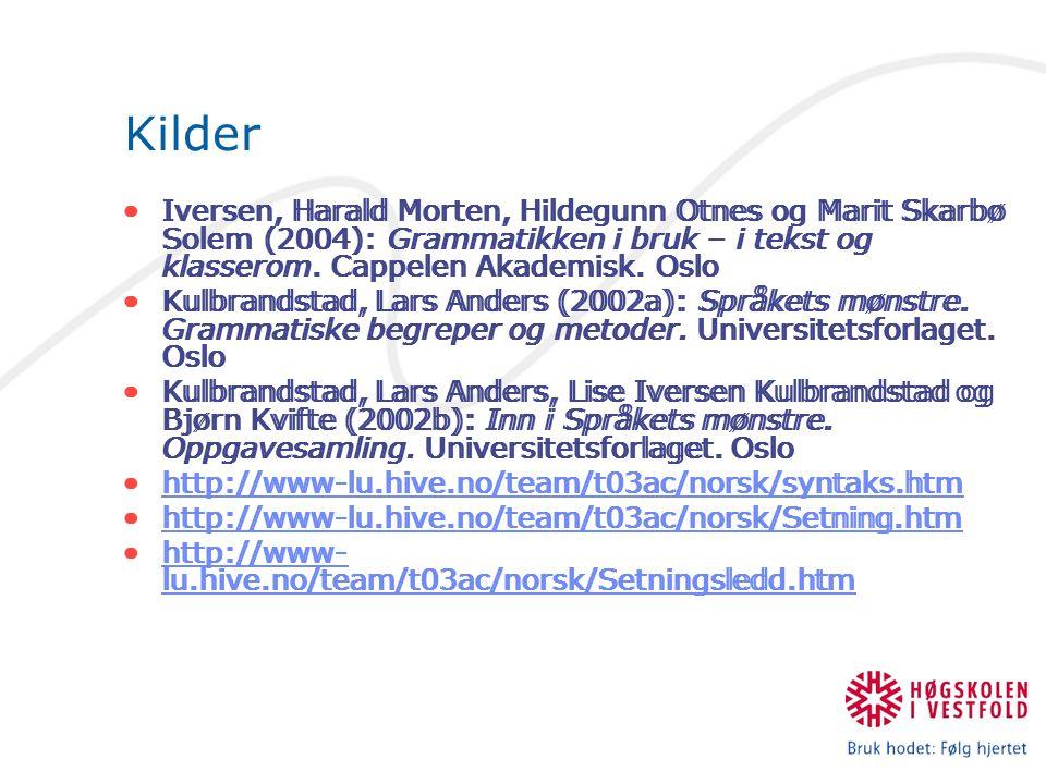 Kilder Iversen, Harald Morten, Hildegunn Otnes og Marit Skarbø Solem (2004): Grammatikken i bruk – i tekst og klasserom. Cappelen Akademisk. Oslo.
